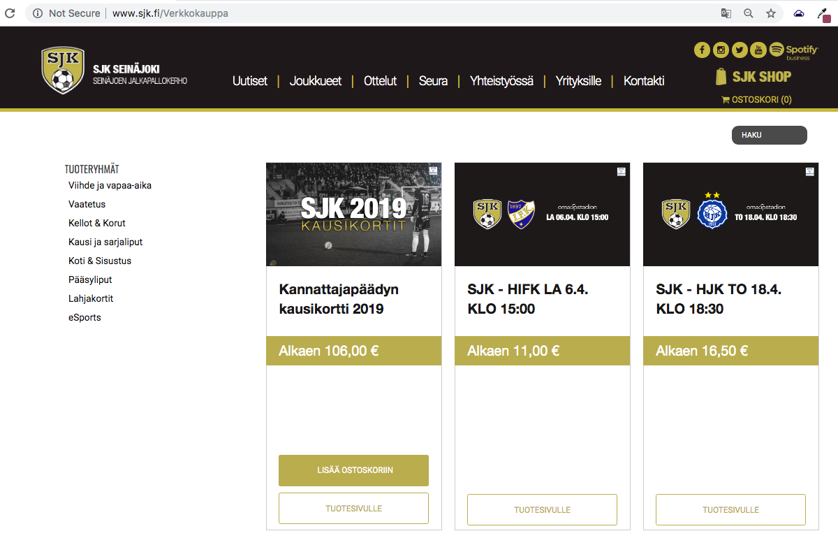 1) Visit www.sjk.fi/Verkkokauppa. Find the match you want, then click on 'TUOTESIVULLE'
