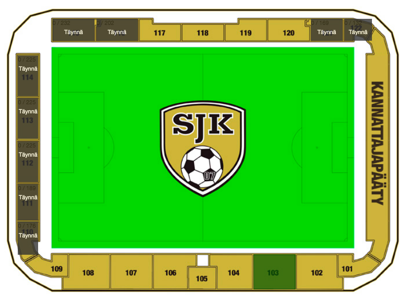 2) Select the area. Click on the section of the ground in which you want to sit, e.g. block 103