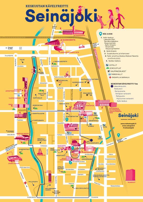 Visit Seinäjoki kävelyreitin kartta