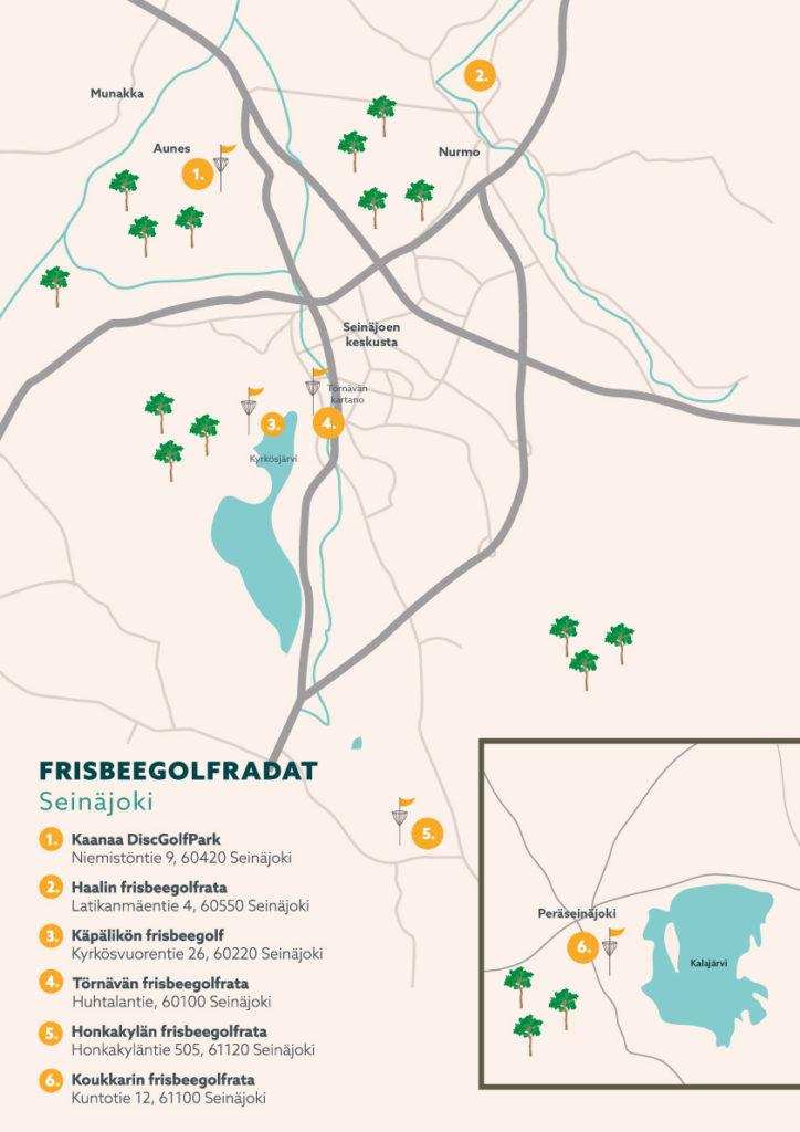 Frisbeegolf kartta Visit Seinäjoki